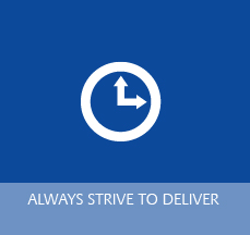 Clock Logo for Always Striving to Deliver