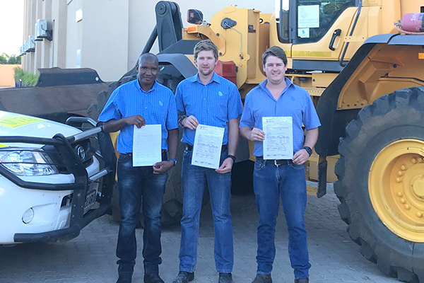 First Botswana apprentices to complete Volvo construction equipment training
