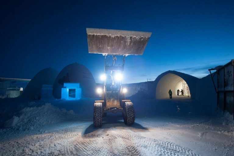 Volvo wheel loader at icehotel